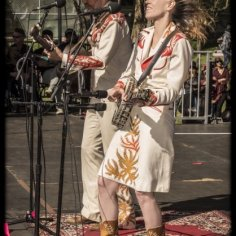 Gillian Welch & David Rawlings playing in their Nudie suits. Golden Gate Park, Hellman Meadow. Saturday, October 3, 2015
