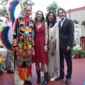 "Gillian and David with Ben and Denise Alley, of the Wisdom Indian Dancers, after performing ""Rock of Ages"" together at the Bridge School Benefit Concert, October 2006."