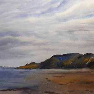 Newgale Beach watercolour seascape