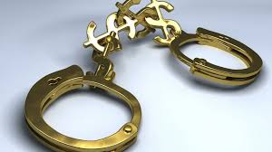 Gold Handcuffs with money linking the cuffs together. Don't let your online business be handcuffed.