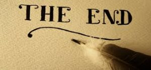 Quill pen with the writing 'The End'