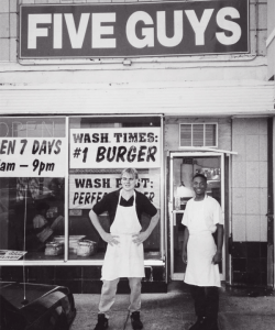 five guys store front. Five Guys is a successful company.