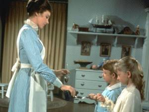 Mary Poppins giving spoon of medicine to children