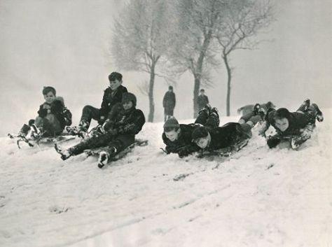 group of kids snow sledding