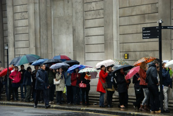 Umbrellas outside the Bank of England