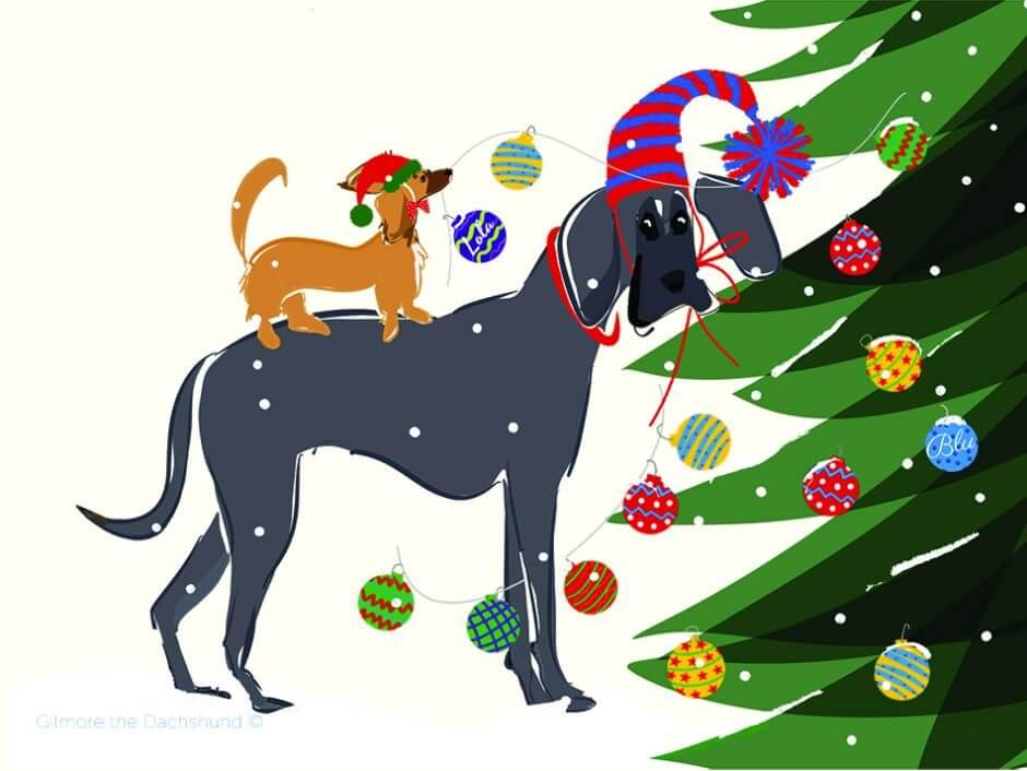 Blu and Lola Christmas card 2018