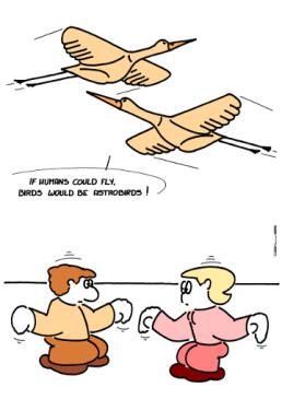 – Si les humains pouvaient voler, les oiseaux seraient des spaciosiaux ! https://gilscow.wordpress.com/2016/08/09/oiseau-bird/