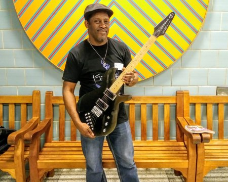 Mark Bowers with a Gimenez Guitars Sinner