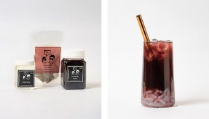 Blueberry Fruit Bubble Tea Kit and Drink with Coconut Jelly
