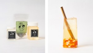 Lychee Fruit Bubble Tea Kit and Drink with Rainbow Jelly