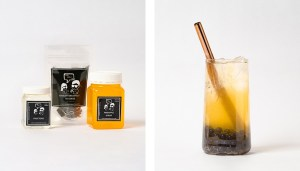 Pineapple Fruit Bubble Tea Kit and Drink with Blueberry Popping Pearls