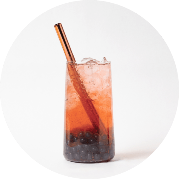 Red Guava Fruit Bubble Tea with Blueberry Popping Pearls