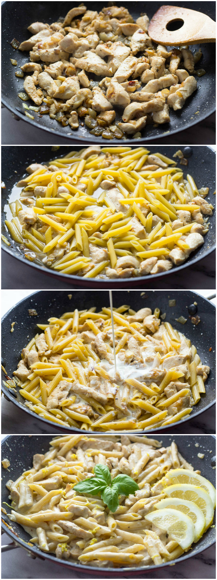 One Pot Creamy Lemon Chicken Pasta #GimmeDelicious #Easy #penne