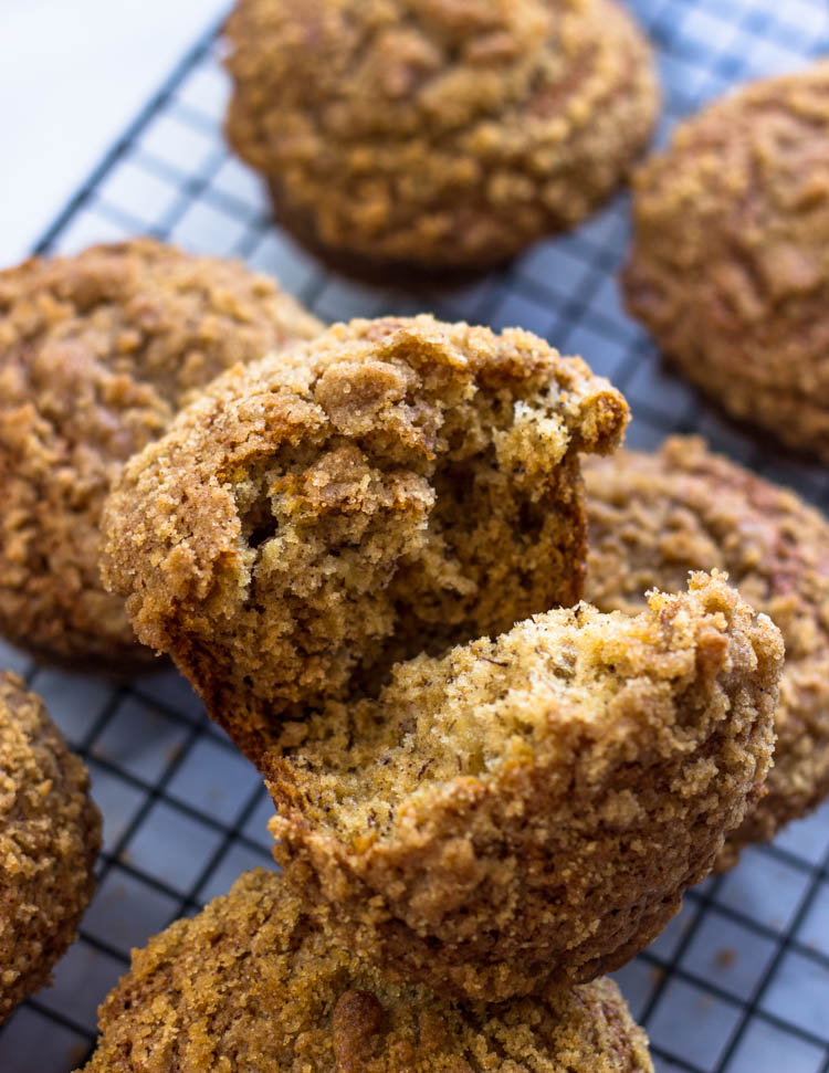 Banana Crumb Muffins are the perfect breakfast to go!