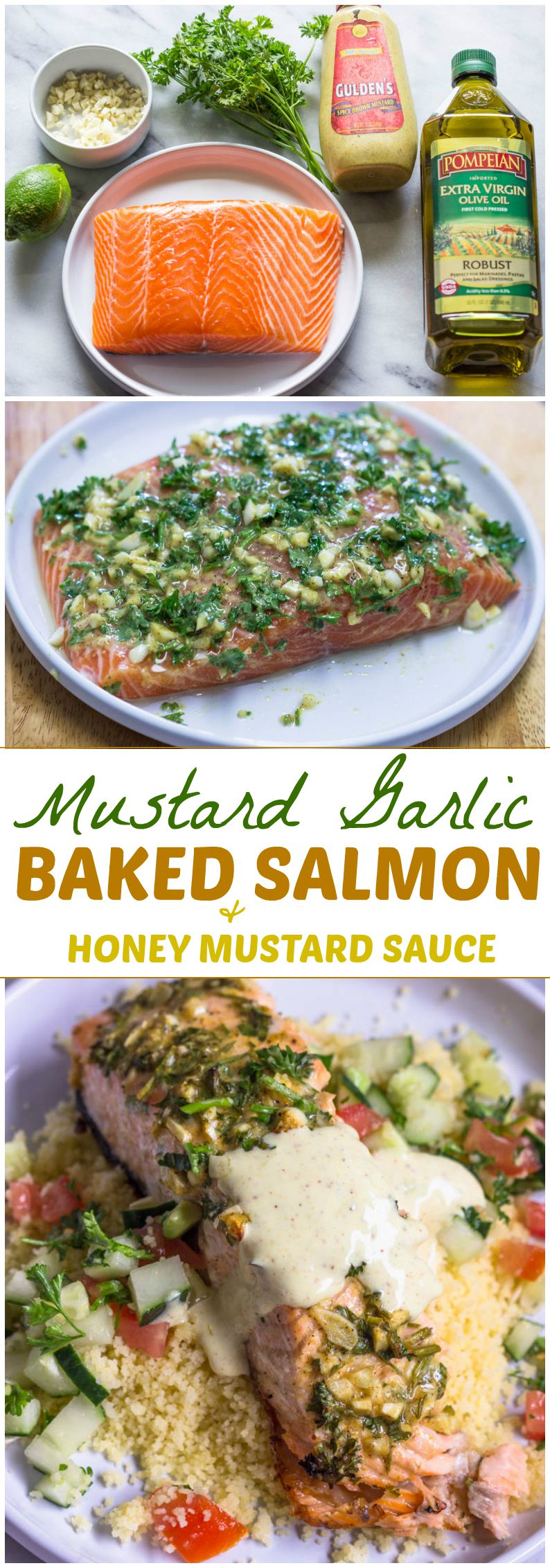 Mustard Garlic Baked Salmon with Honey Mustard Sauce (Easy, Delicious, and Healthy)
