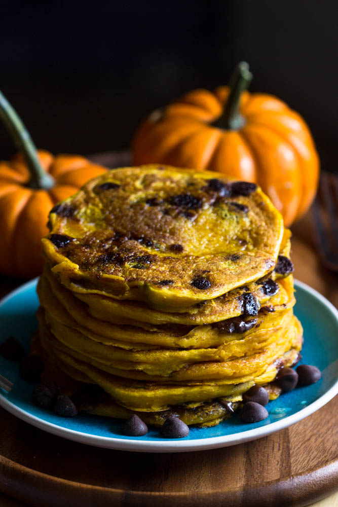 Moist Pumpkin Chocolate Chip Pancakes