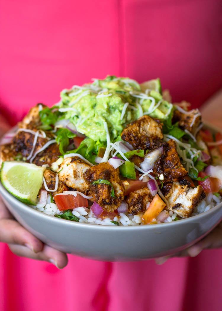 Copycat Qdoba Chicken Burrito Bowls