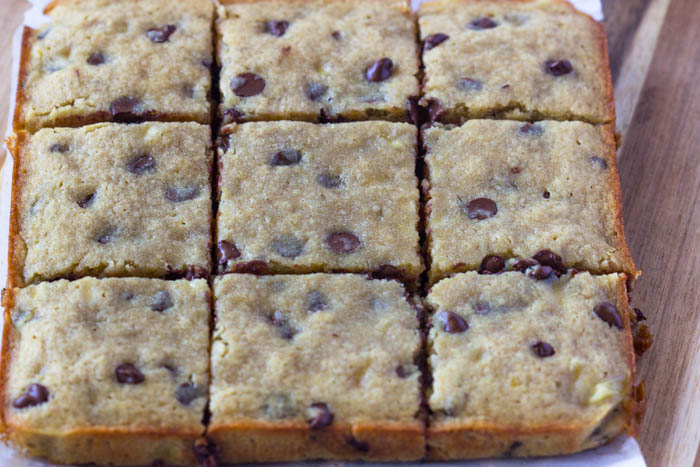 Banana Chocolate Chip Blondie Bars