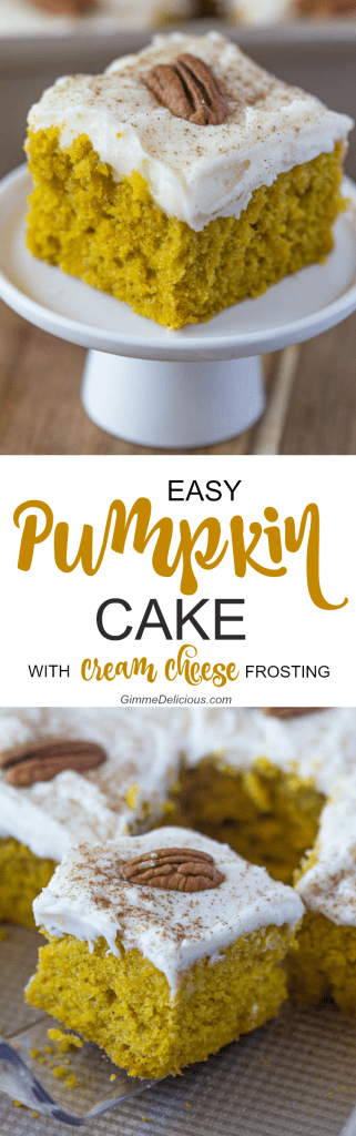 Easy Pumpkin Cake with Cream Cheese Frosting #sheetcake #spiced #bars #gimmedelicious