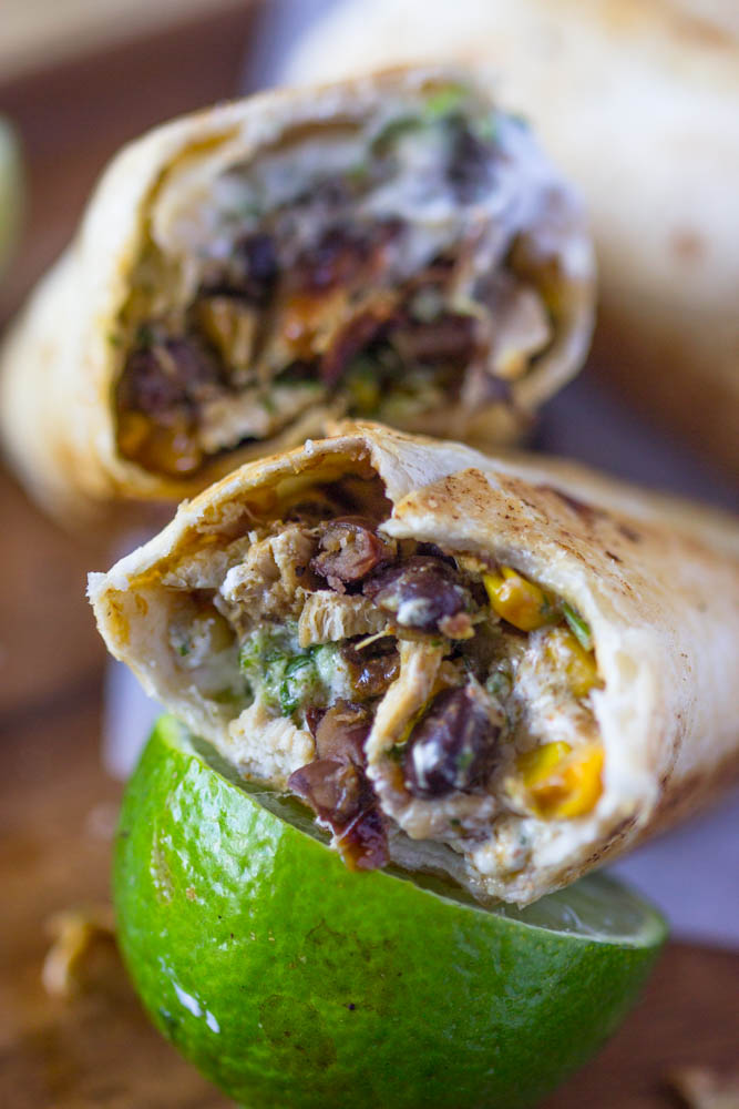 Healthy Crispy Fiesta Chicken Burrito Wraps