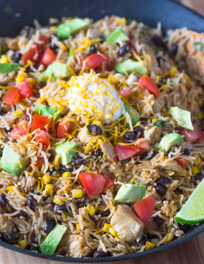 Easy One Pot Chicken Burrito Bowls