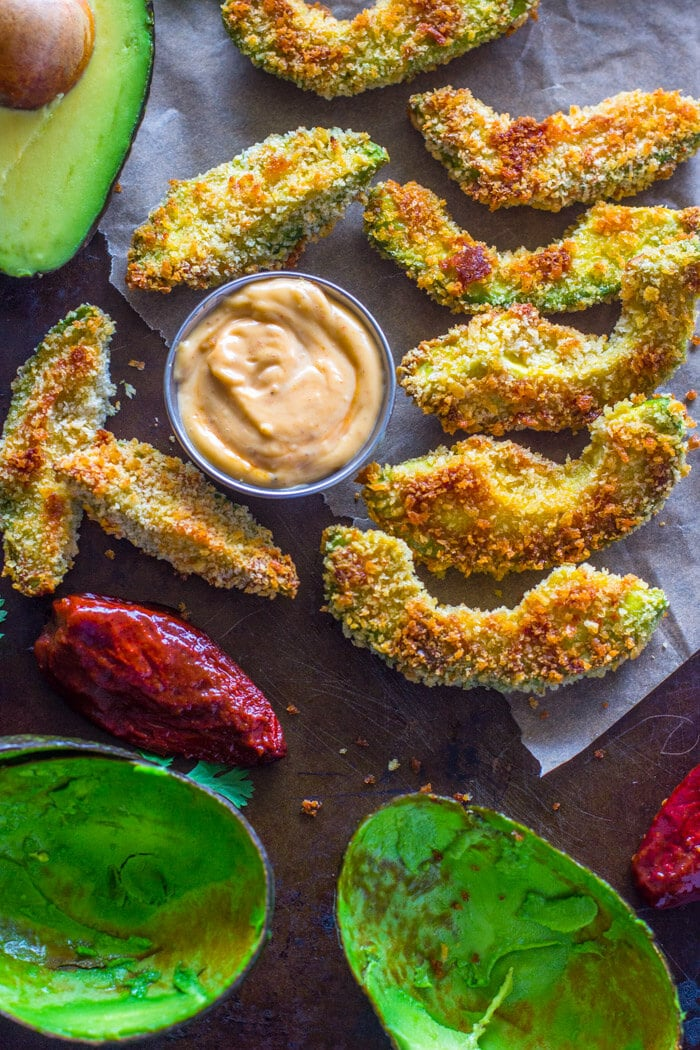 Crispy Baked Avocado Fries & Chipotle Dipping Sauce