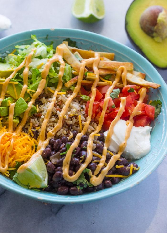 Quick Veggie Burrito Bowls with Chipotle Sauce