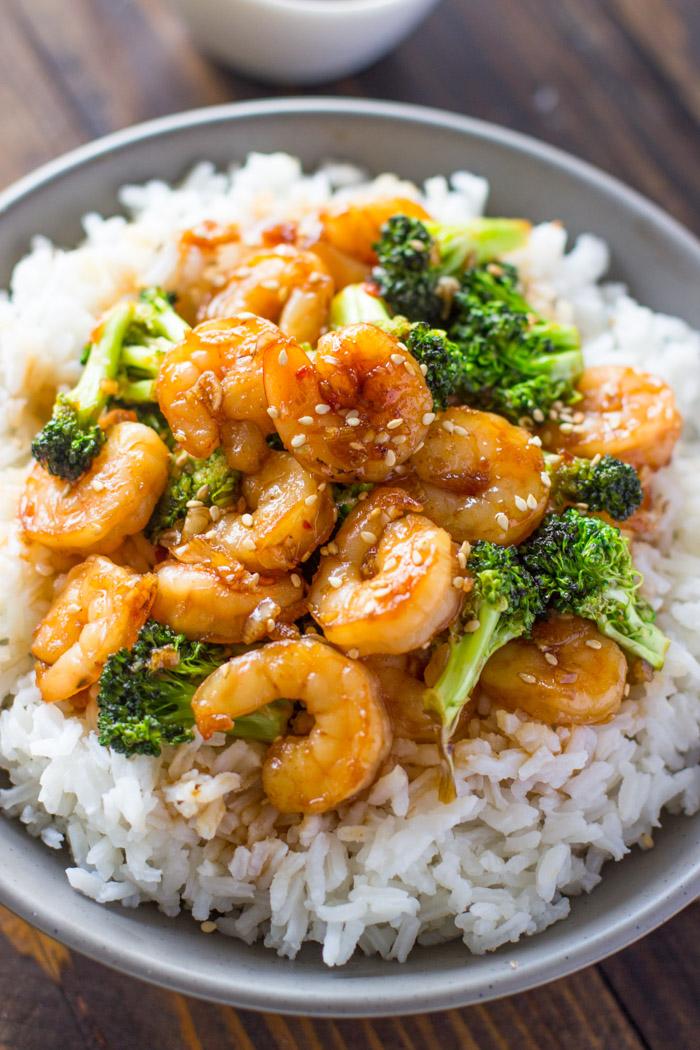 Easy Honey Garlic Shrimp and Broccoli