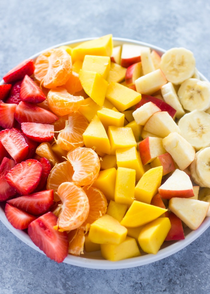 Fruit Salad with Healthy Honey Yogurt Sauce