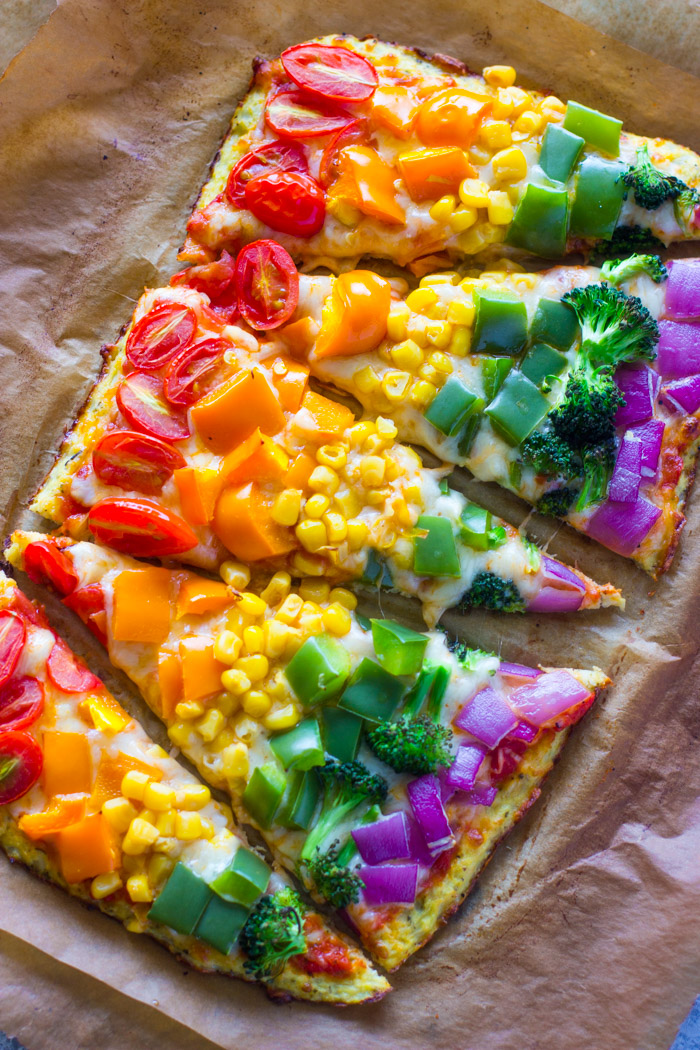 Rainbow Cauliflower Crust Pizza
