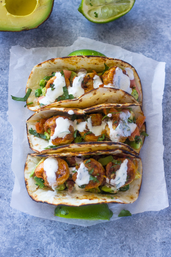 Spicy Shrimp Tacos with Avocado Salsa & Sour Cream Cilantro Sauce