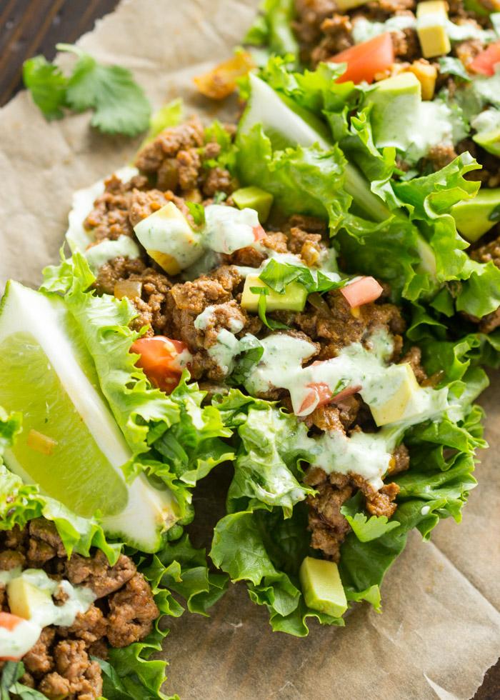 Beef Lettuce Wraps with Spicy Cilantro Jalapeno Sauce