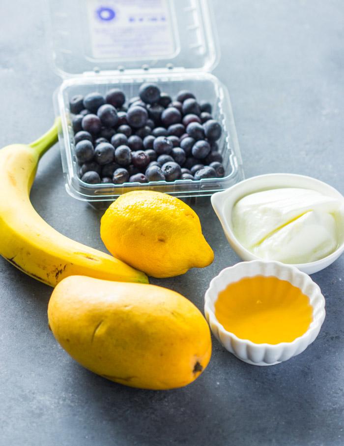 Layered Blueberry Mango Smoothies