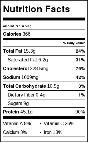All Purpose Buffalo Chicken Nutritional Facts