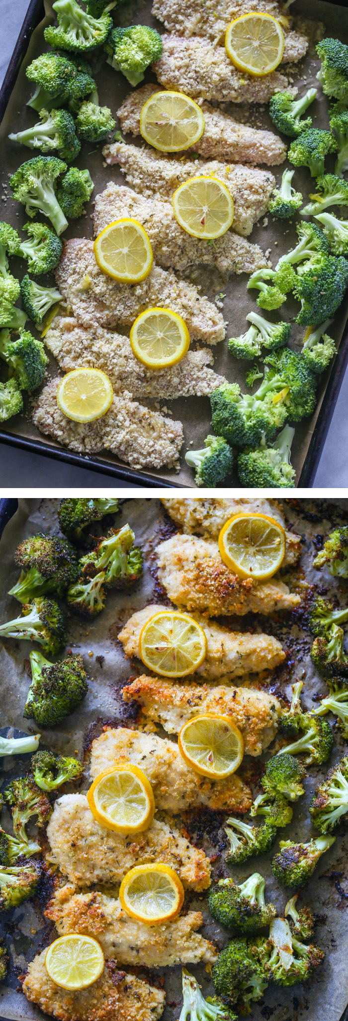 20 Minute One Pan Lemon Parmesan Chicken and Broccoli