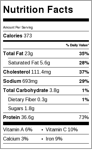 Grilled Chili Lime Chicken Nutritional Facts