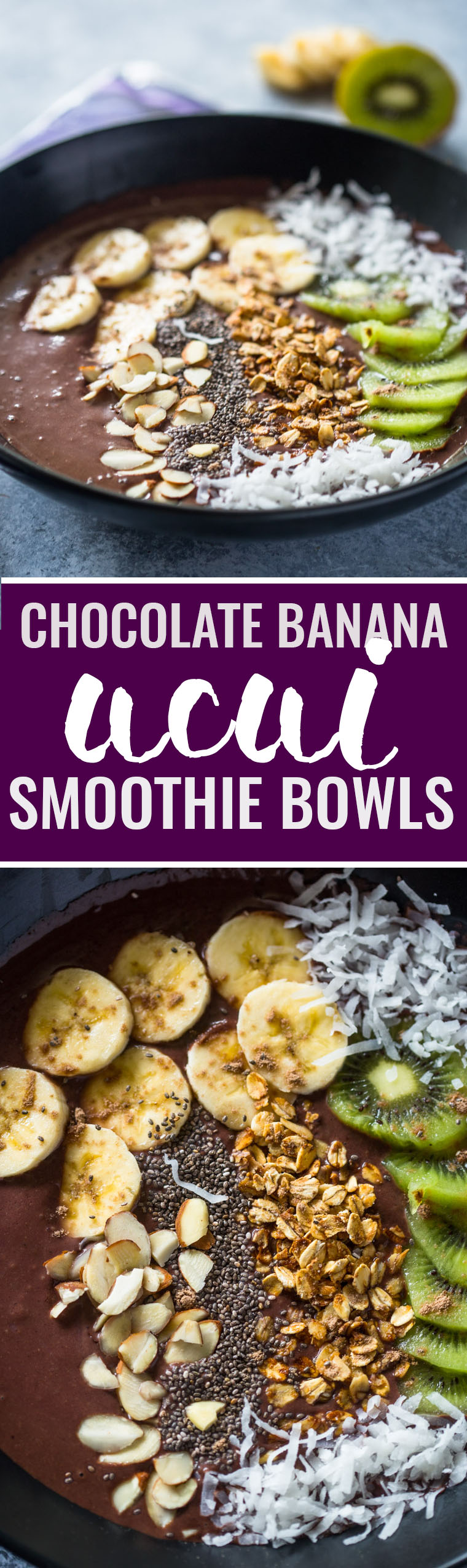 Chocolate Banana Acai Smoothie Bowls