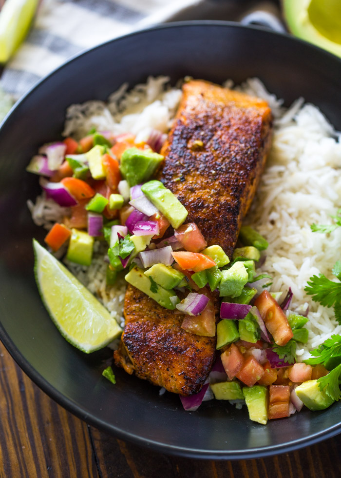 Crispy Salmon & Avocado Salsa Rice Bowls with Cilantro Sauce
