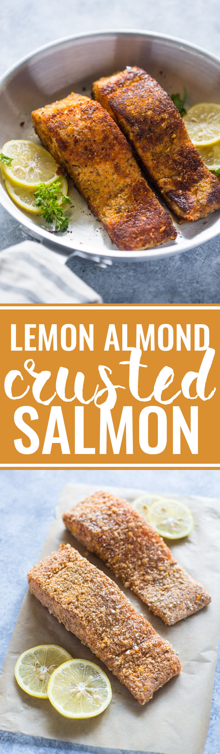 15 minute Crunchy Lemon Almond Crusted Salmon