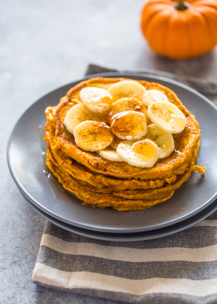 Healthy Pumpkin Banana Pancakes (Paleo, G-F, Protein Options)