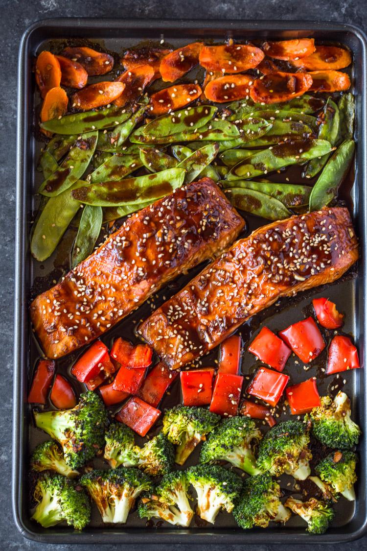 Sheet Pan Teriyaki Salmon Amp Veggies Gimme Delicious