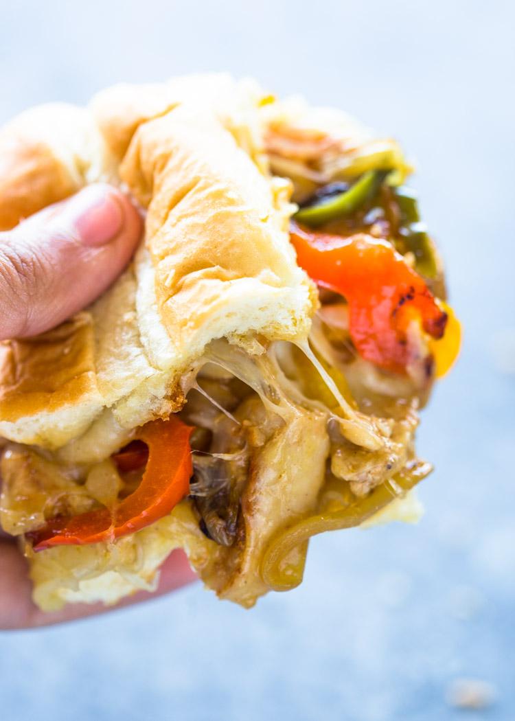 Cheesy Chicken Cheesesteak Sandwiches