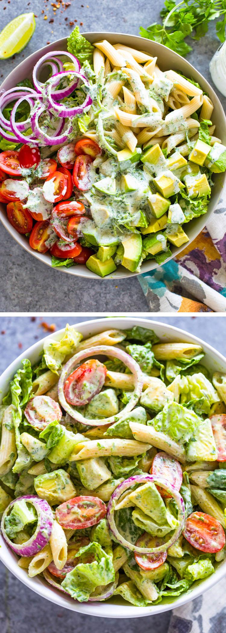Creamy Avocado Tomato Pasta Salad