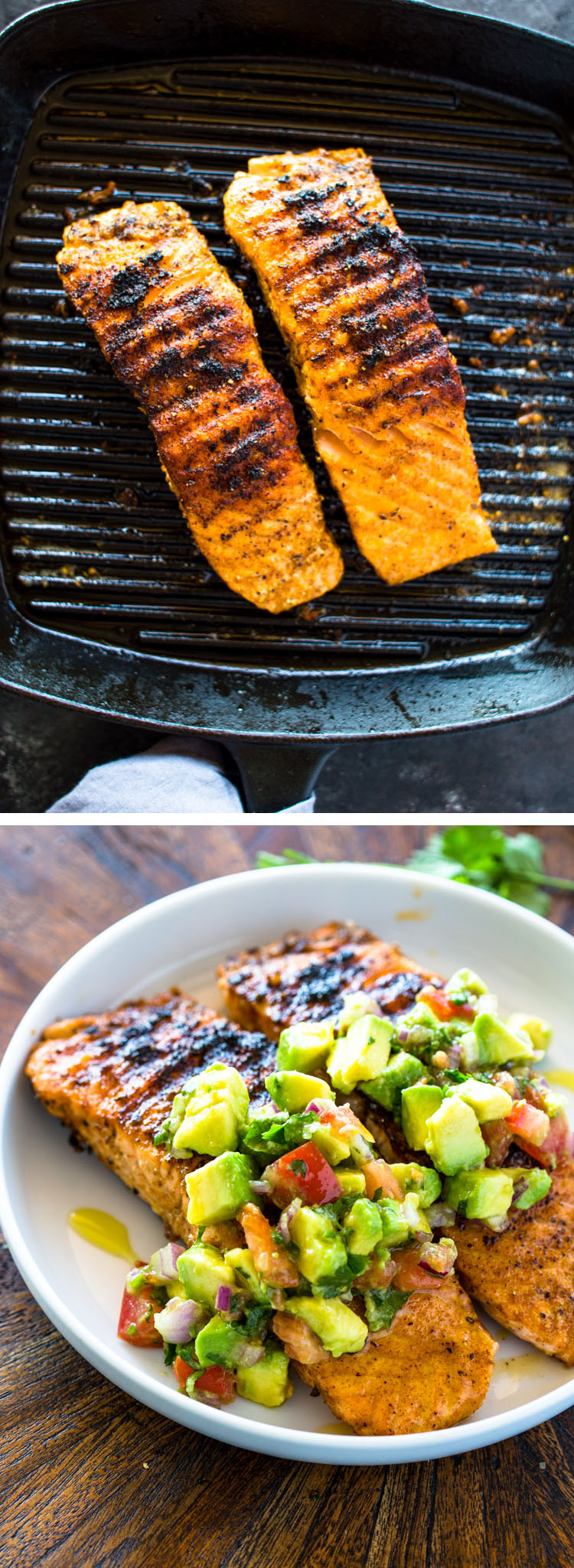 Salmon with Avocado Salsa (Low-Carb, Paleo, Whole30, Healthy)