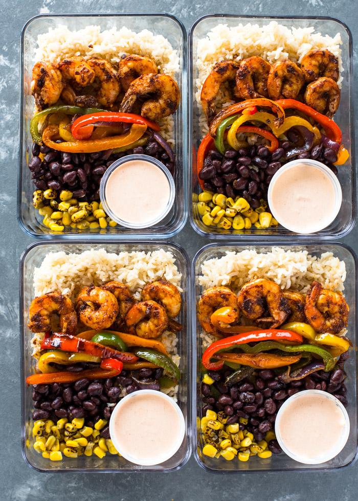 Meal Prep Shrimp Burrito Bowls