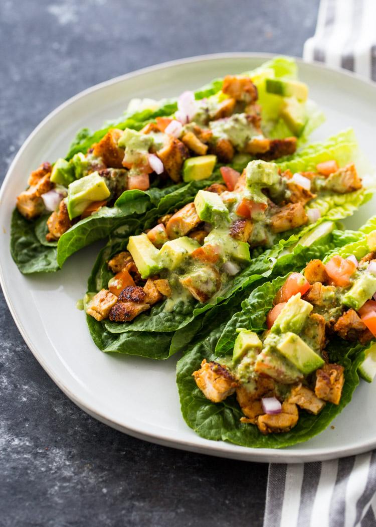 Cilantro Avocado Chicken Wraps
