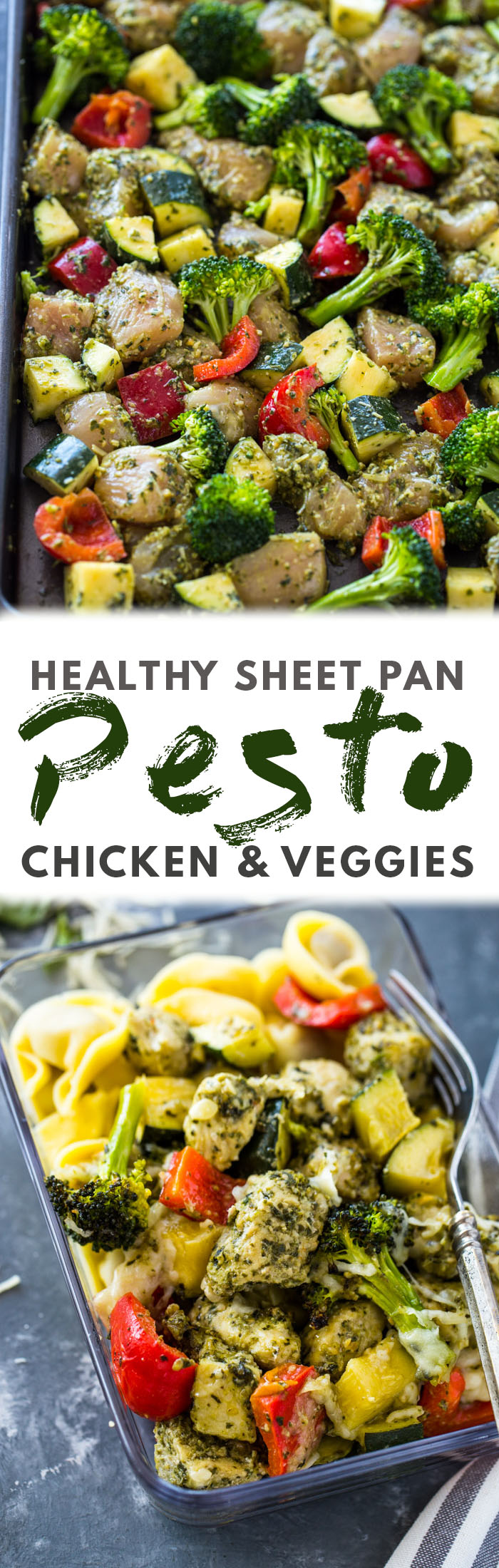 Healthy Pesto Chicken and Veggies (20 Minute Sheet Pan)