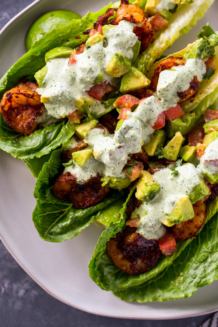 Spicy Shrimp Taco Lettuce Wraps Gimme Delicious