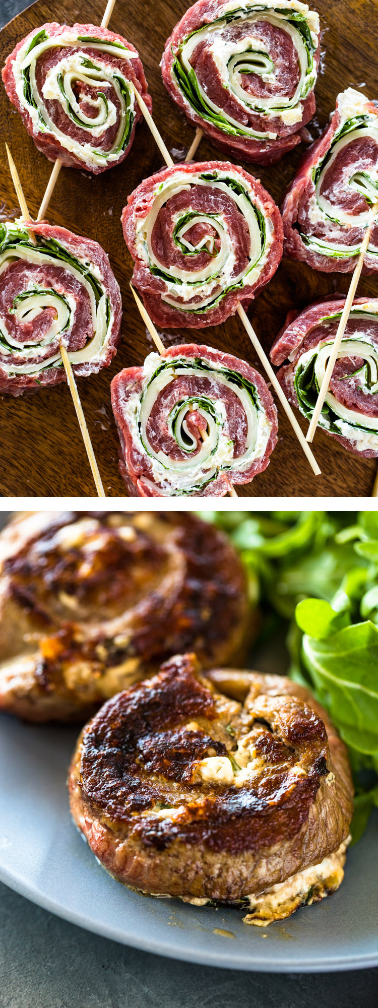 Spinach Cheese Stuffed Flank Steak Rolls
