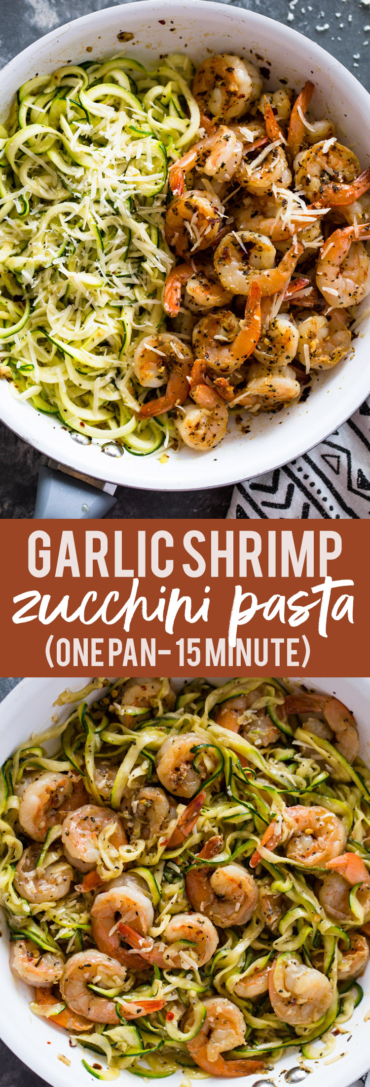 15 minute Garlic Shrimp Zucchini Pasta (One Pan)